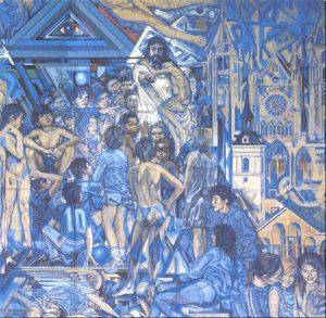 """Vista parcial del Retablo - Tío Alberto, 1989- de la Catedral del Niño. En el rincón inferior, la parte """"amable"""", Bimba y Olfo, niños entonces, y su madre Lucia, personifican el necesario abrigo y riego maternal."""